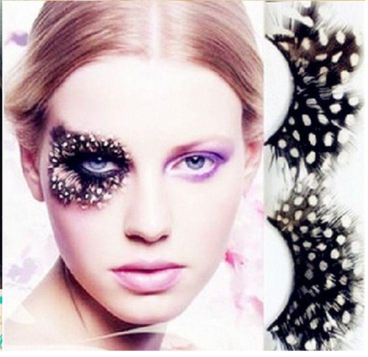 1 paia/set colorful feather ciglia finte per il trucco partito o esagerato maquiagem macchie bianche feather eyelashes lqq
