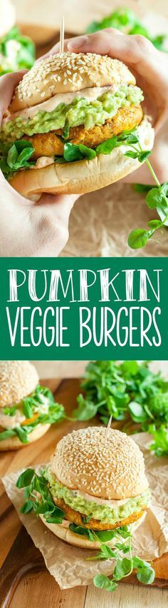 Fall into some SERIOUS flavor with these easy Chipotle Pumpkin Veggie Burgers! vegan, gluten-free, freezer-friendly and 100% delicious!