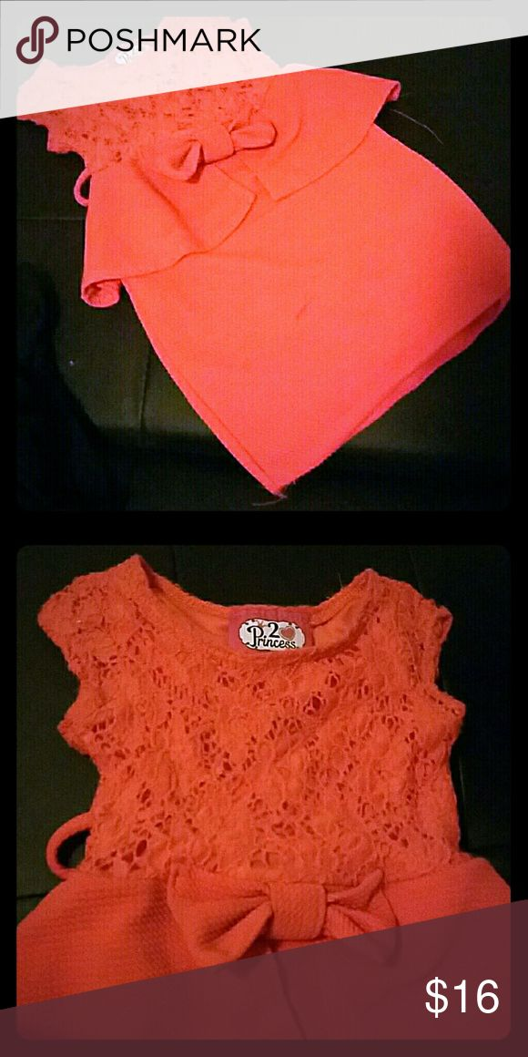 Little Miss Bossy Tangerine Dress size 4 A Tangerine Dress size 4 for little Miss Bossy. A classy look for a little girl with a whole lot of attitude. No rips or tares however a small blemish on front of dress barely noticable about a quarter inch long. Only can see in certain lighting. All offers welcome and considered...thanks Dresses Casual