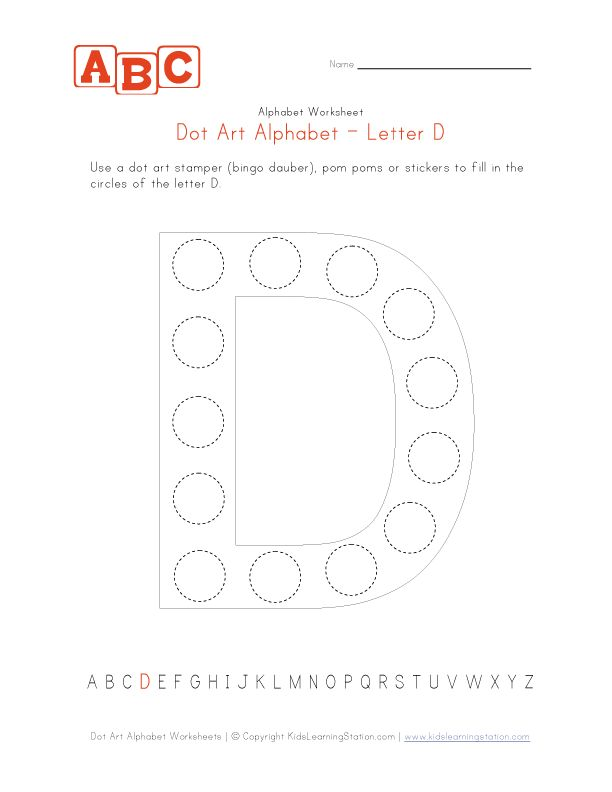 Dot Art letter D Letter D Alphabet worksheets