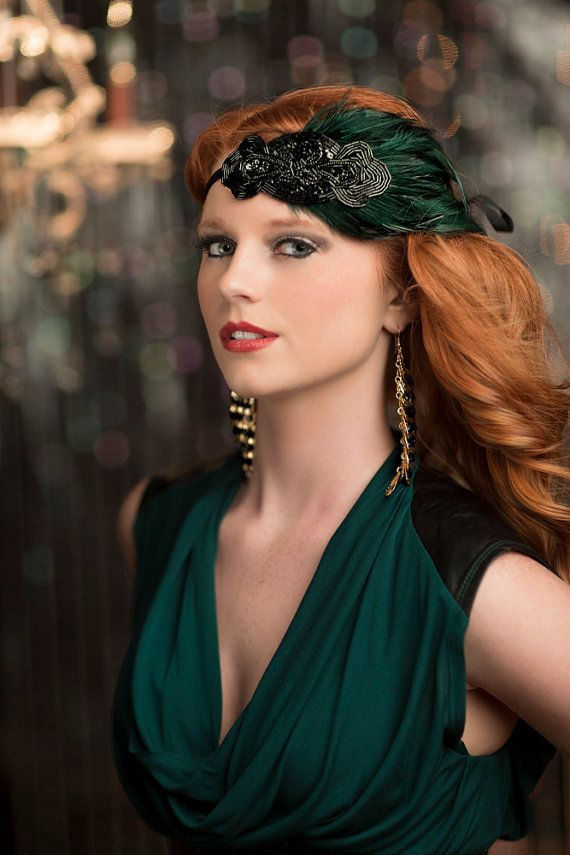 1920s Headpiece, Flapper Style Headband, Great Gatsby Headpiece, Black Beaded Green Feather Headband on Etsy, $39.05 CAD