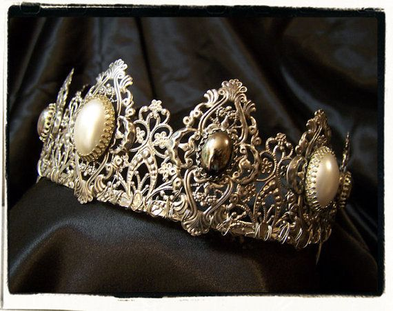 Ghost Antique Silver and Pearl Filigree Tiara by RecycledRockstah, $75.00