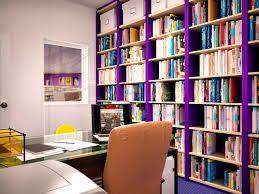 Purple bookshelves