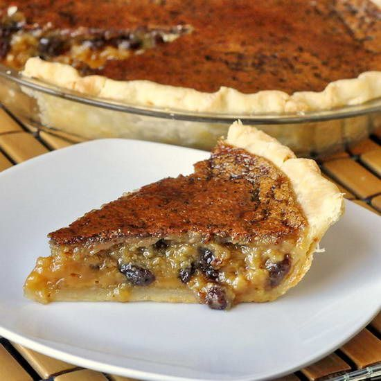 "Maple ""Butter Tart"" Pie - it's Canadian Thanksgiving weekend and time to think about dessert for the big day. What could be a more Canadian and completely luscious choice than this pie based upon our national favorite, the butter tart? The addition of maple syrup ups the Canuck in this recipe! (but I would leave out the raisins)"