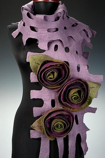 Fiber and Textile, Elizabeth Rubidge, Artist, trelis scarf made from merino felted wool