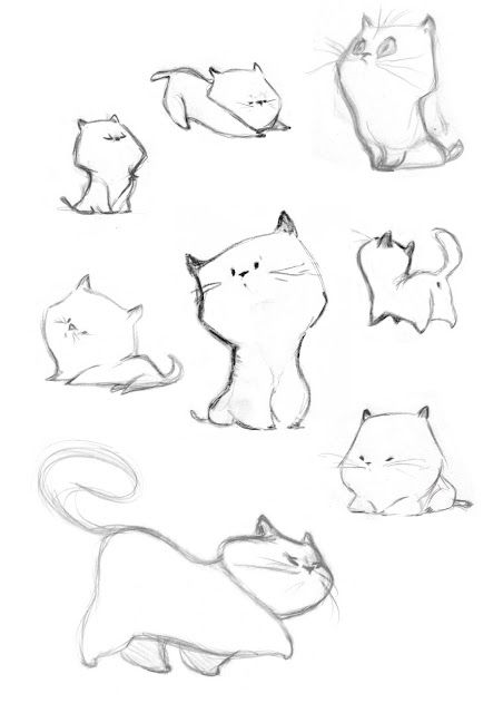 "Kitty sketching! ""les gribouillons"" de Caroline Piochon.       Hehe they are cute!"