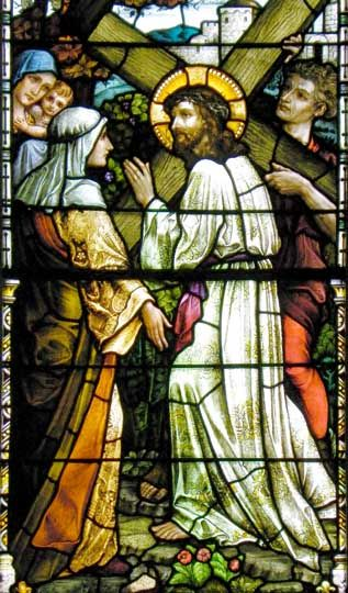 Jesus encounters the women-Stained glass stations of the cross  Buffalo Religious Arts Museum  Formerly St. Francis Xavier RC Church
