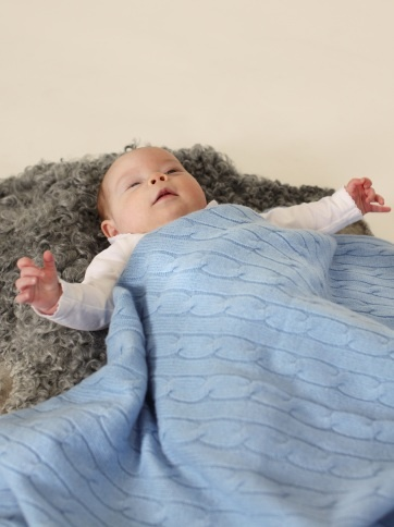Baby Blanket Light Blue  100 % Cashmere  www.softgoat.com