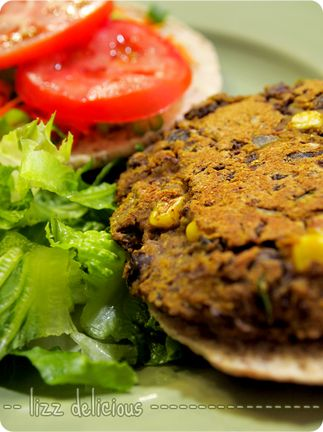 Homemade Spicy Black Bean Burgers - delicious, easy to make, and wonderfully vegan.