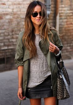 Zara skirt, Madewell top, Current/Elliott jacket, Goyard bag, Ray-Ban sunglasses.
