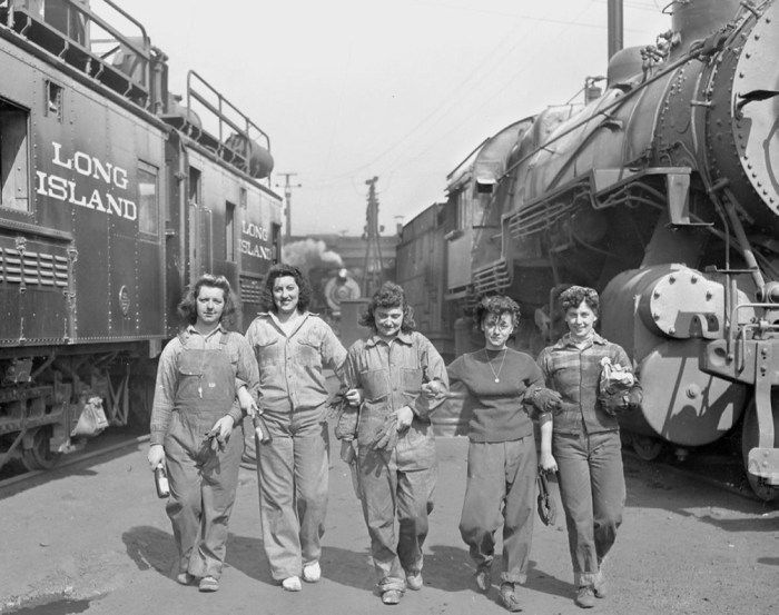 Women working along the rails for the Long Island Railroad in 1942. The women were paid 56 cents an hour for their work.