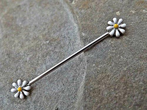 Daisy Industrial Barbell 14ga Body Jewelry Scaffold Ear Jewelry Double Piercing Upper Ear Jewelry