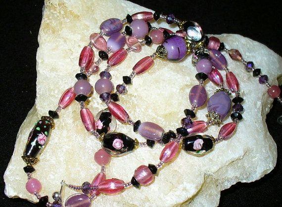 Lange Perlenkette Rosentraum 93cm 14   flieder rosa von MeinSchmuck