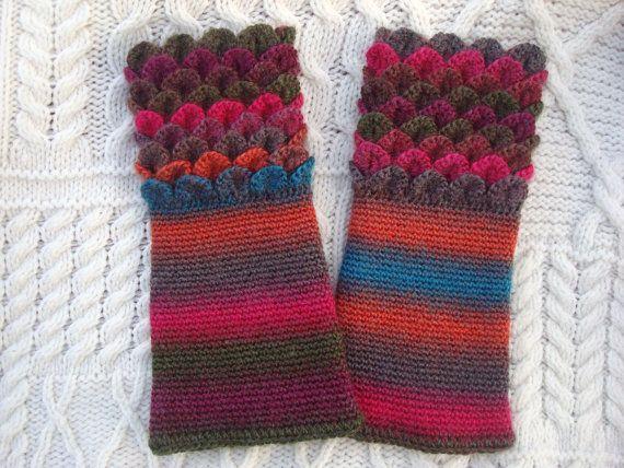Rainbow Funky Crochet Wrist Warmers Crocodile by SelkieCrochet, $25.00