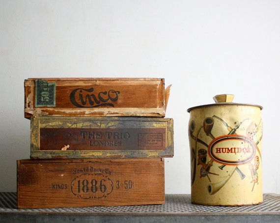 Vintage Wooden Cigar Boxes and Pipe Tobacco Tin