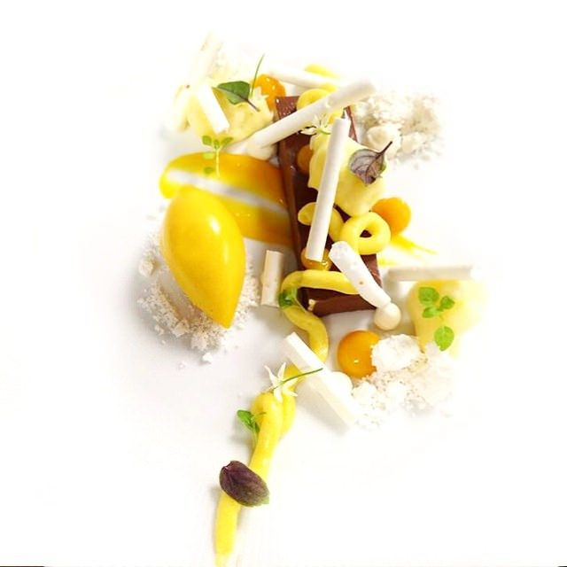 Dessert for next month Miami spice!  Chocolate ganache, passion fruit Cremeux , coconut snow, passion fruit mango sorbet, coconut meringue, mango fluid gel #theartofplating #chefstalk | by Pastry Chef Antonio Bachour