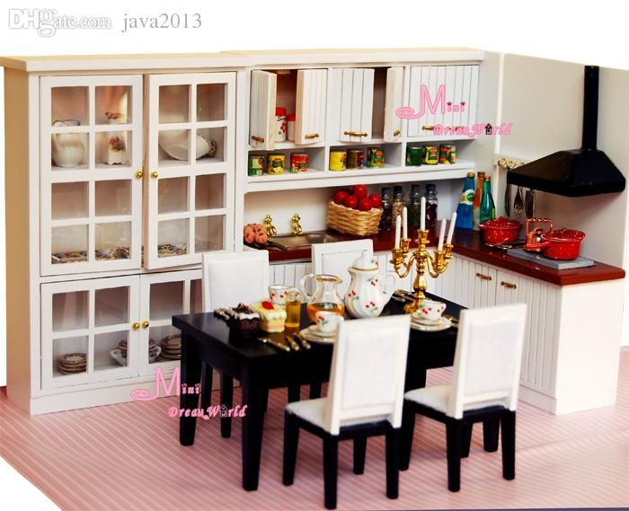 Wholesale Dinning Kitchen Cabinet Cupboard Table Chairs Dollhouse Miniature Wd05 Barbie Doll House For Sale Cheap Doll Houses For Sale From Java2013, $58.56| Dhgate.Com