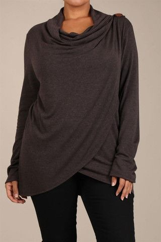 Crossover Button Sweater PLUS Size - Chocolate – Death On Two Legs