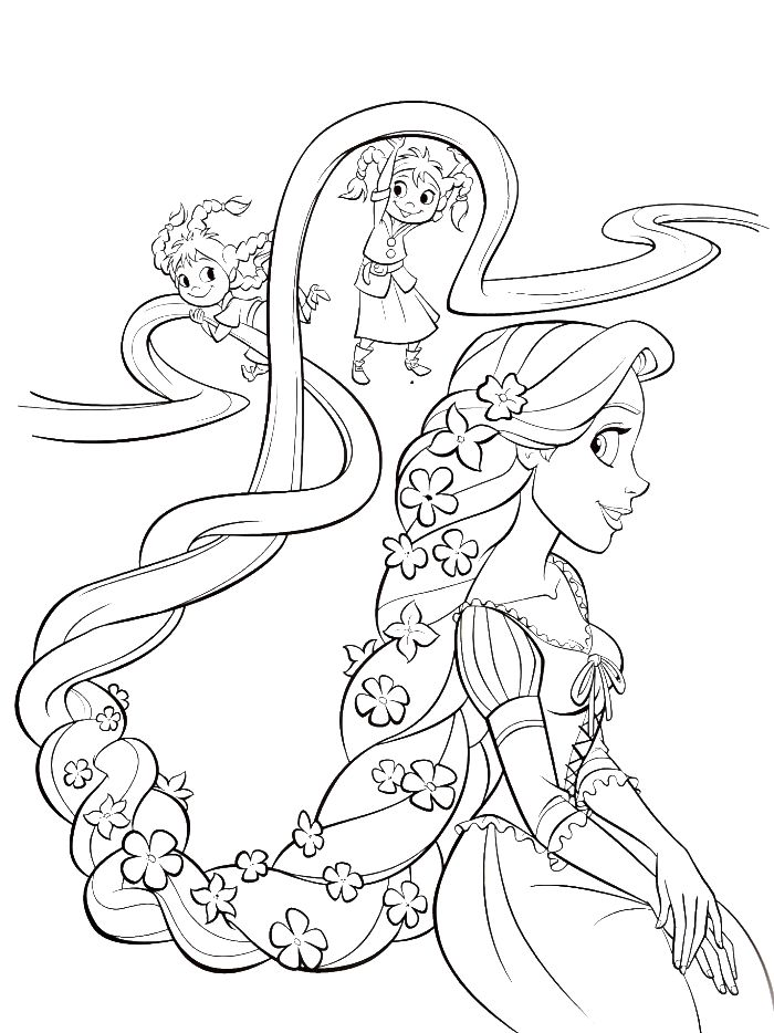 Two Children Are Styling Hair Rapunzel Coloring Pages - Princess Coloring Pages : KidsDrawing – Free Coloring Pages Online
