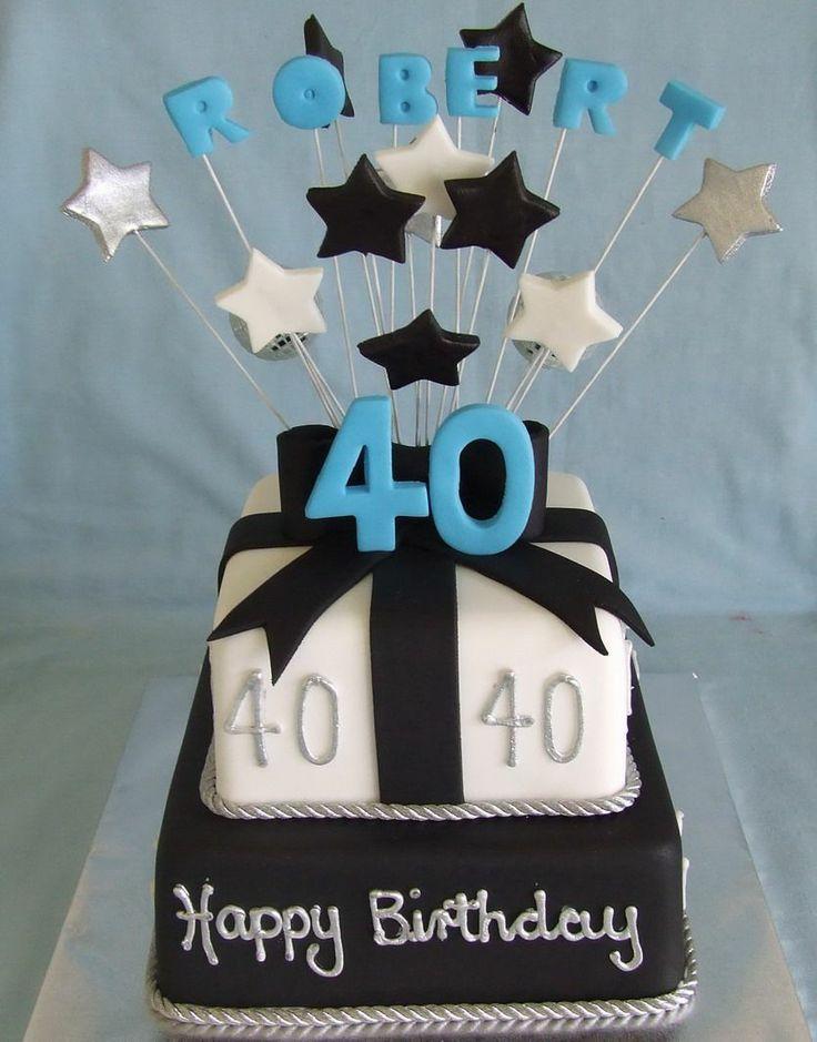 Male BIrthday Cake - Black and White fondant iced mudcakes