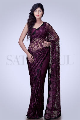 Ruby French Lace Saree