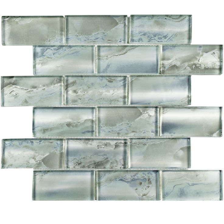 The SomerTile 11.75x12-inch Stunning Super Subway Silver Glass Mosaic Wall Tile adds a nature-inspired  flair to any wall installation with its shimmery coloring and textured front and back surfaces.