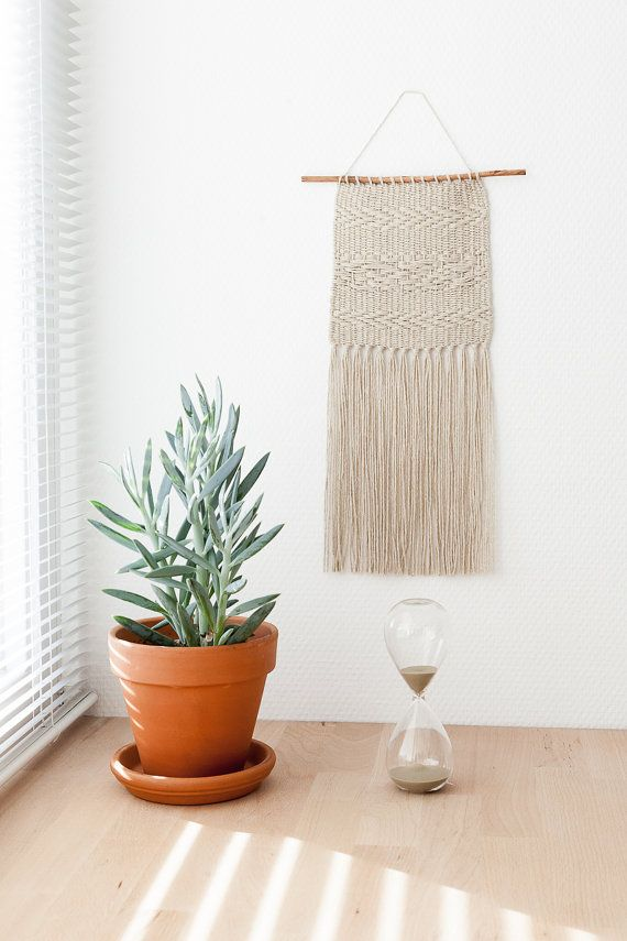 Sand Hand Woven Wall Hanging on Willow Tree Twig | Small
