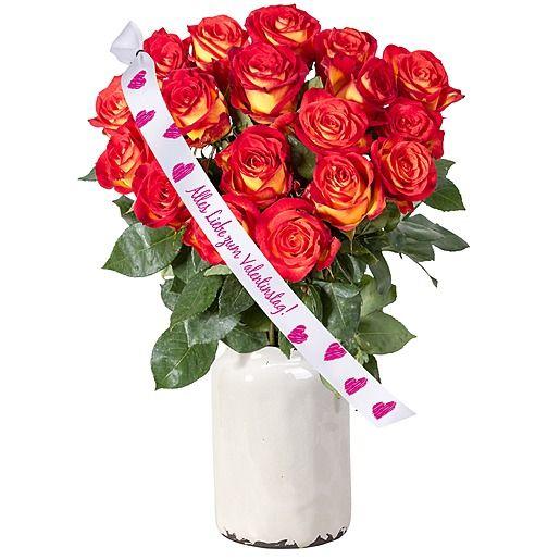 18 gelb orangefarbene Rosen und Schleife Alles Liebe zum Valentinstag!
