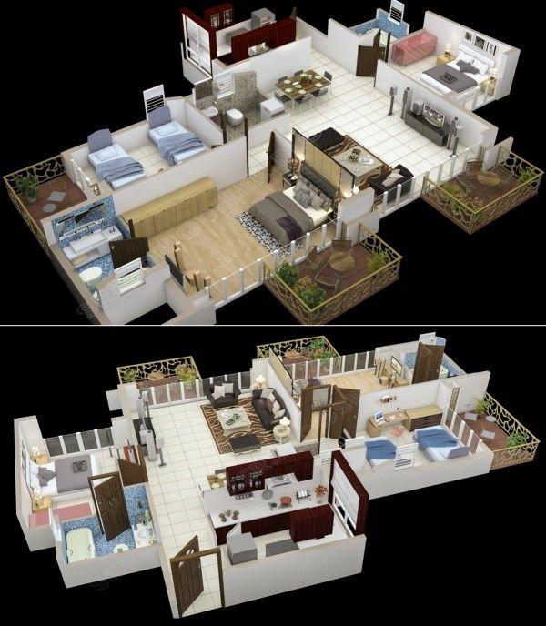 1000 sqft 3 bedroom apartment 3d floor plans trend home