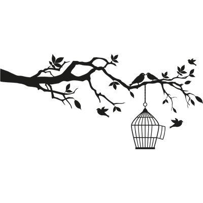 Pájaros en rama, vinilo decorativo