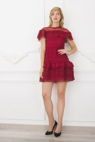 811071 Sukienka wizytowa bordowa #minidress #reddress #shortdress #partydress #cocktaildress