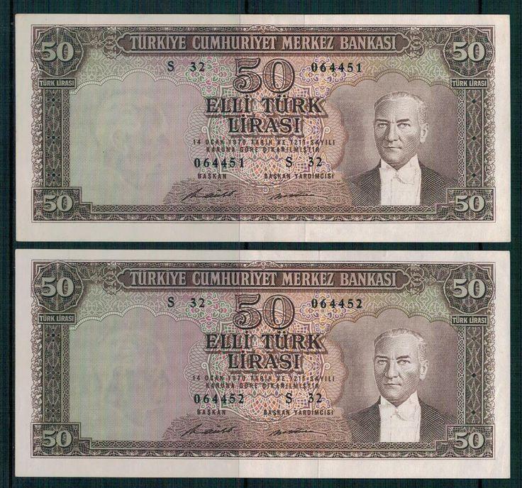 5.EMİSYON 7.TERTİP 50 LİRA ,SERİ S 32 064451 ve 452 SERİ TAKİPLİ.ÇİLL - Gökçe Koleksiyon, Eski Kağıt Para, Eski Para, Osmanlı Paraları, osmanlı kağıt para, darphane hatıra para, madeni para