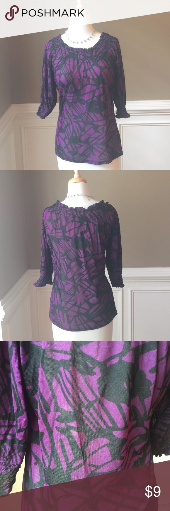 """Karen Kane sheer purple top Pretty semi-sheer top from Karen Kane. Vibrant purple with black floral pattern. Smocked neck and sleeve cuffs. You can wear it off-shoulder as well. Possible slight variation in color, I'm not sure if that's how it came. See pic 3. Otherwise no flaws or blemishes. No rips or odors. Smoke and pet free home. Approx 15"""" across bust, 22.5"""" long, 12"""" sleeves. I cut out large white fabric tag b/c it was so easily visible through fabric. Karen Kane Tops Tees - Long…"""