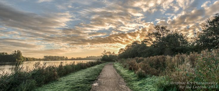 This was taken just after sunrise as I walked back round Whitlingham Broad in Norfolk. The angle put the rising sun behind the trees so I didn't get dazzled. The grass had a little dew/frost, which added to the atmosphere