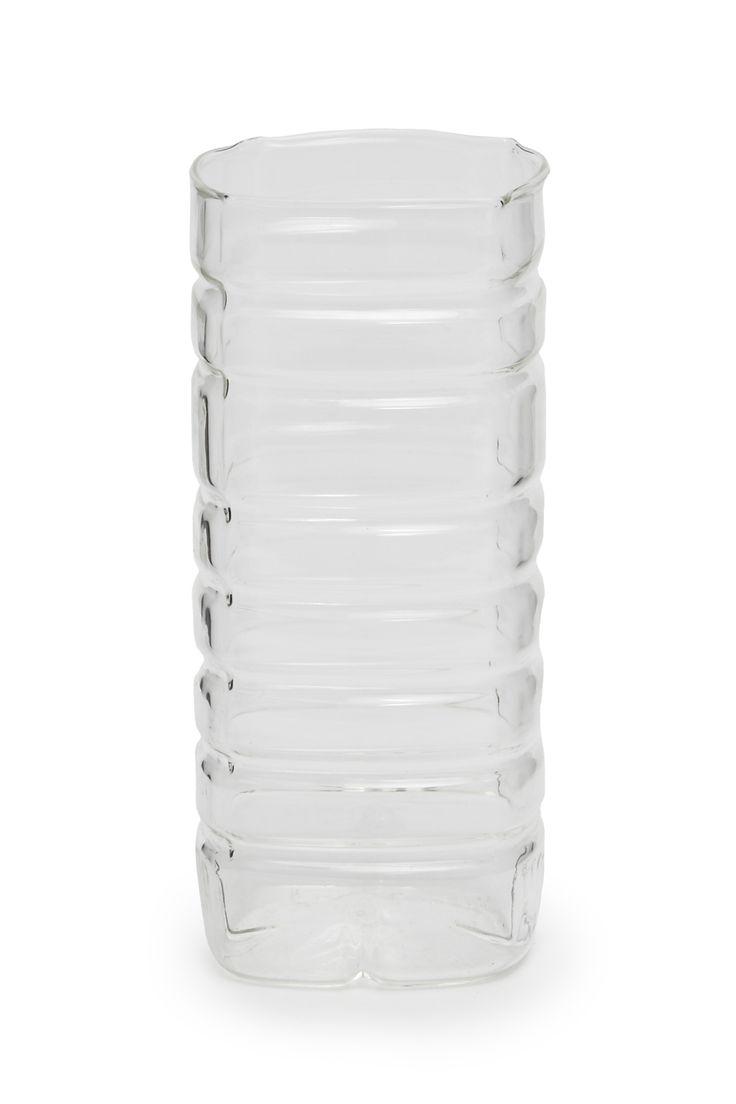 <ul> <li> Glass bottle-style vase with ridge detail</li> </ul>