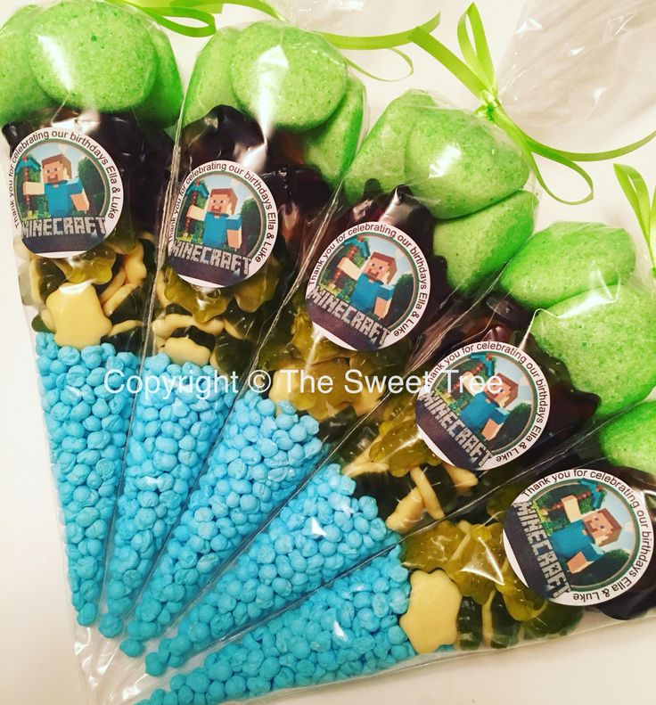 Minecraft sweetcones party bag favours. Children's birthday party www.facebook.com/thesweettree1