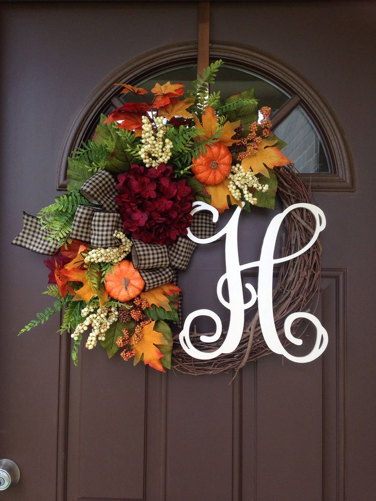 Picture#4 shows script alphabet (12) Picture #5 shows curly alphabet ( 8) ***The style of the wreath pictured is 12cream script.*** This lovely wreath will make a wonderful addition to your home decor or a thoughtful gift for a special person or occasion . Made on 18 natural grapevine base with orange hydrangea,pumpkin,berries, assorted greenery,finished with large bow. Add monogram of your choice for a personal touch. ***Please note that grapevine wreath base is a natural product and ma...