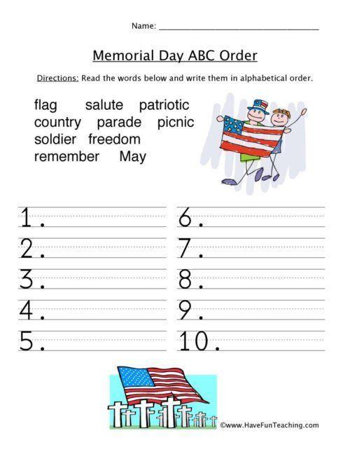 Memorial Day Alphabetical Order View Printable Memorial Day Worksheets Worksheets Free Worksheets For Kids Kids Worksheets Printables