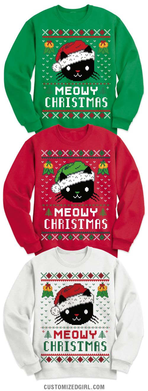 Have a very meowy Christmas! Get this adorable cat ugly sweater to wear on Christmas or to your work holiday parties. Any cat lover is sure to love this comfy sweatshirt.  #uglysweater