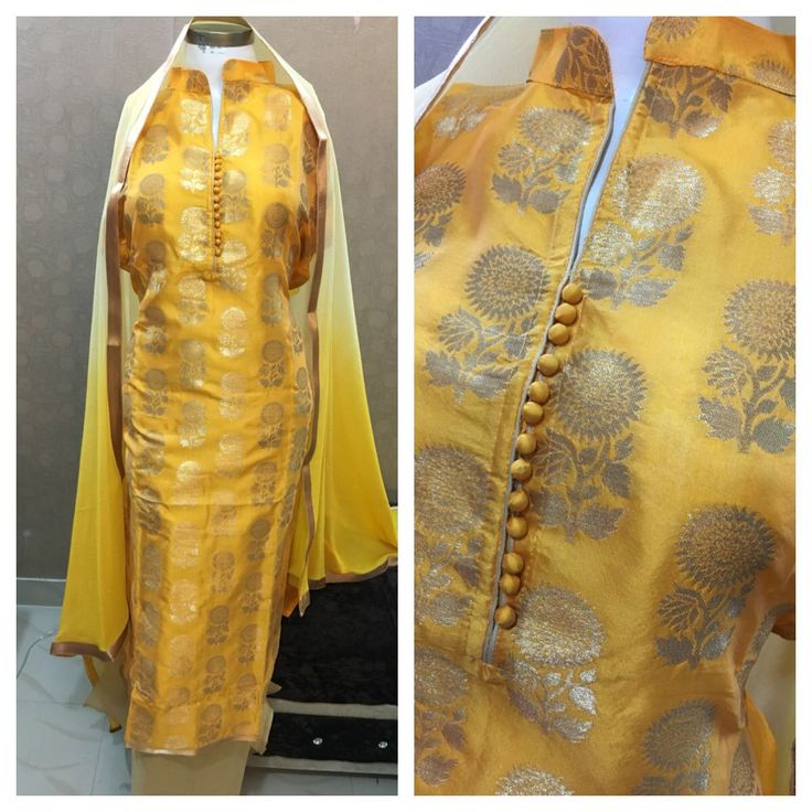 Yellow Colored Classy Designer Silk Suit With Chiffon Dupatta