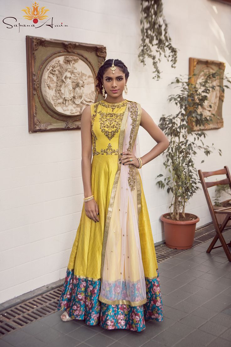 bisouNYC - Yellow Gown With Teal Foral Border