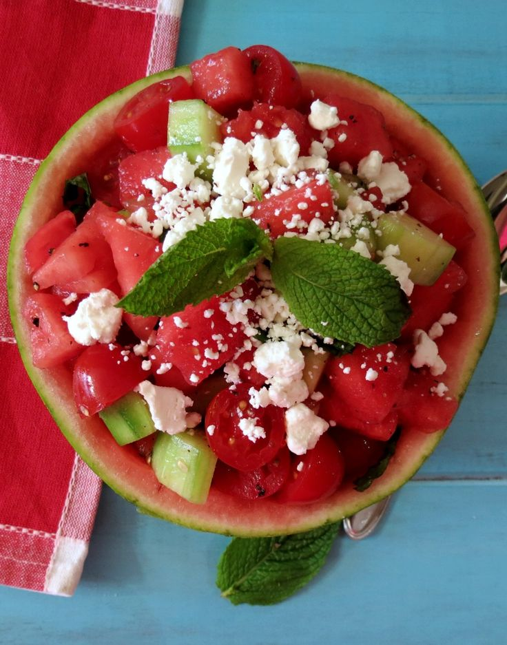Watermelon, Tomato and Goat Cheese SaladHealthy Recipe