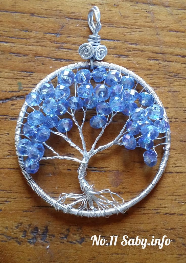 Wire Tree Pendant. No.11 Silver with blue beads. (4cm) Hand-made by Sabine Stroo - van de Flier.