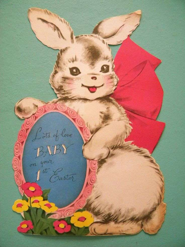 Giant Vintage Easter Card for Baby's First Easter Bunny Rabbit with Egg 8 x 12 by SongbirdSalvation on Etsy https://www.etsy.com/listing/271733796/giant-vintage-easter-card-for-babys