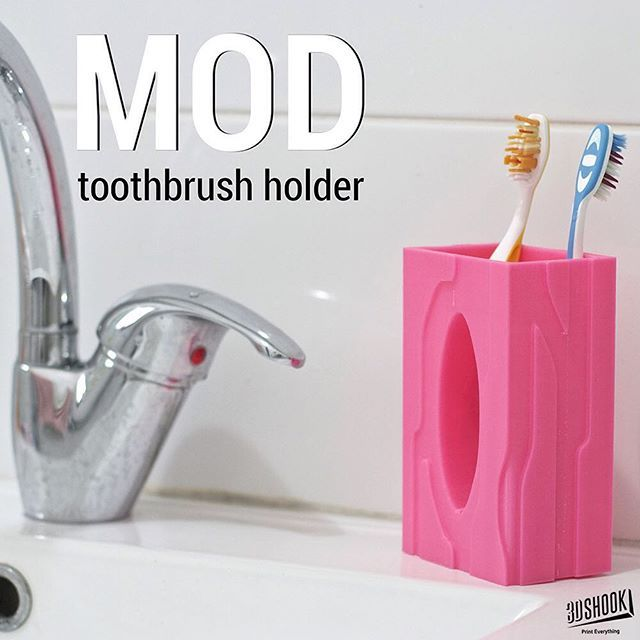 "@3dshook's photo: ""Contemporary toothbrush holder with a unique shape - tip: place toothpaste tube in center of holder!  Check us out at www.3dshook.com #3dprint #3dmodels #3dprinted #3dprinter #3dprinters #3dprinting #makers #makersgonnamake #PrintEverything #tech #technology #design #toothbrush #decor #interiors #bathroom #design #cool #3dshook"""