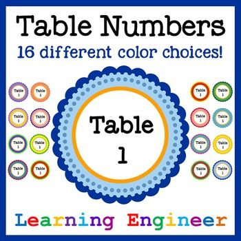 These classroom table signs look great hanging above your classroom tables. I made 1 thru 6 table numbers for each color, but if you need more table numbers, let me know : ) There are 16 different colors to pick from. You can pick a different color for