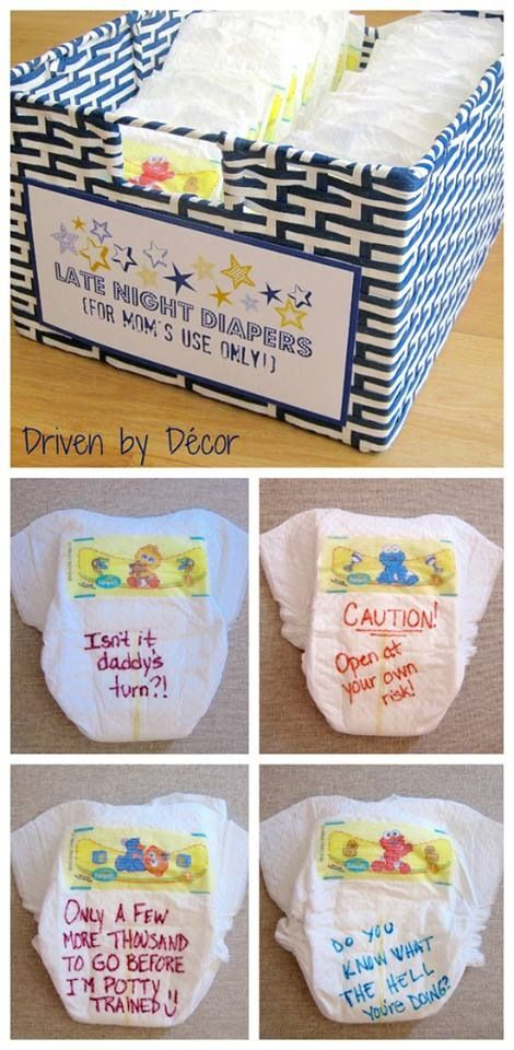 *modify to use as a game. or write baby/parenting jokes on them and hang them on lines of string around the room.