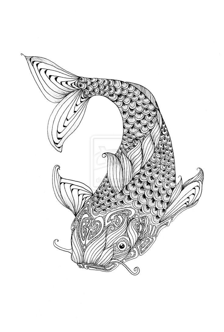 Zen doodle colour - Zendoodle Fish By Mythaone Deviantart Com On Deviantart