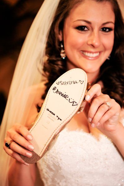 a turkish wedding tradition: All of the bridemaids sign the bride shoe, the last name remaining will be the next one to be married