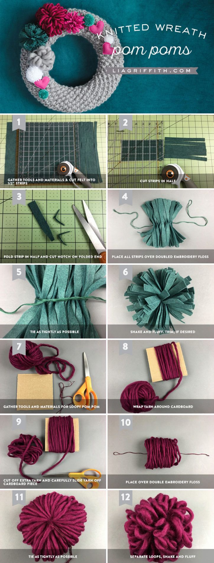 Knit Wreath with Yarn Pom Poms